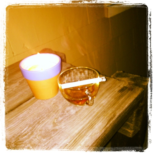 Still life: Last cigarette with Bulleit rye served in grandmother's tea cups. June 24, 2013. (Yes, Karl and I drink our whiskey out of my grandmother's teacups. It started when we we were first dating and I had no shot glasses in the house. Somehow it stuck.)
