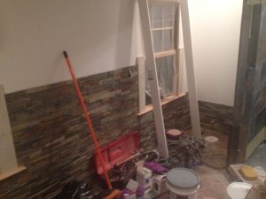 The stackstone tile going up on the walls of the master bathroom. It won't be everywhere, just an accent wall.