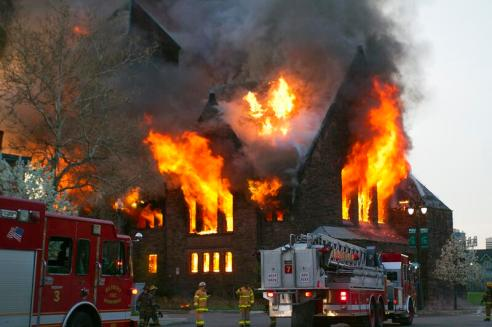 "<a href=""http://motorcitymuckraker.com/blog/2014/05/10/morning-fire-guts-historic-woodward-church-near-downtown-detroit/"">Photo by Steve Neavling of MotorCity Muckraker, who first reported on the fire.</a>"